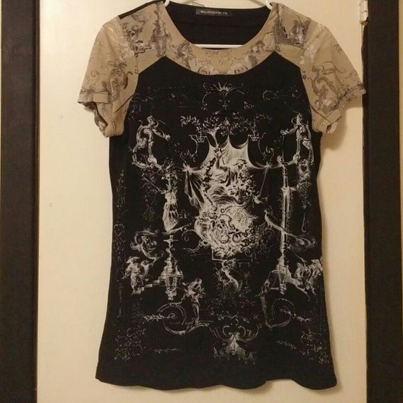 Balenciaga t shirt Rate one of a kind Balenciaga t shirt. Baroque style art with delicate see through lace-like details. Size FR38 which would be a Small or Medium fit...trade value higher Balenciaga Tops Tees - Short Sleeve