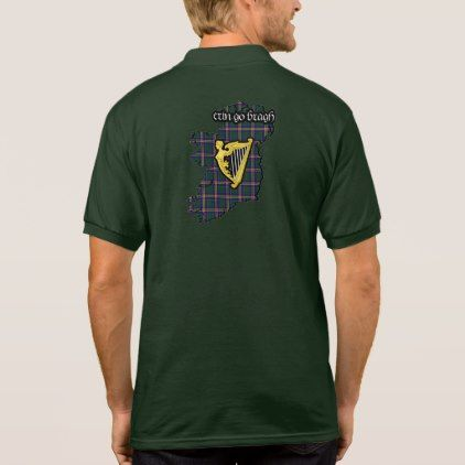Butler Irish Family Shield w/Kilkenny Tartan Polo - family gifts love personalize gift ideas diy