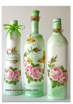 """""""Grandma's Gazebo with Flowers"""" Decoupage Bottles: Tutorial in Russian with photos // On the site Southern Blackberry Designs, you can find English instructions on how to decoupage a recycled bottle: http://www.blackberrydesigns.com/How%20To%20Instructions/Recycled%20Bottle.htm"""