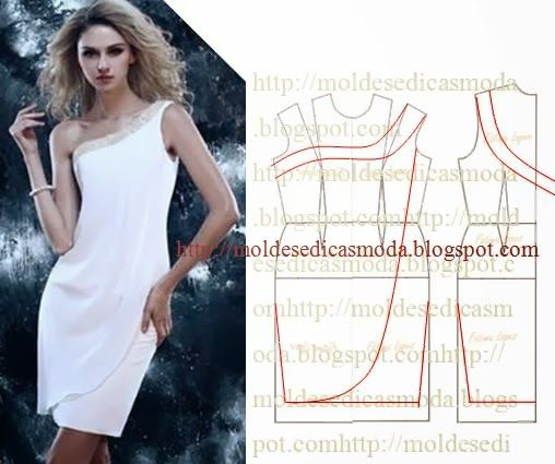 Para fazer este molde do vestido branco um ombro só siga o passo a passo em baixo. Este trabalho tem como principal objectivo ajudar quem tem pouco...