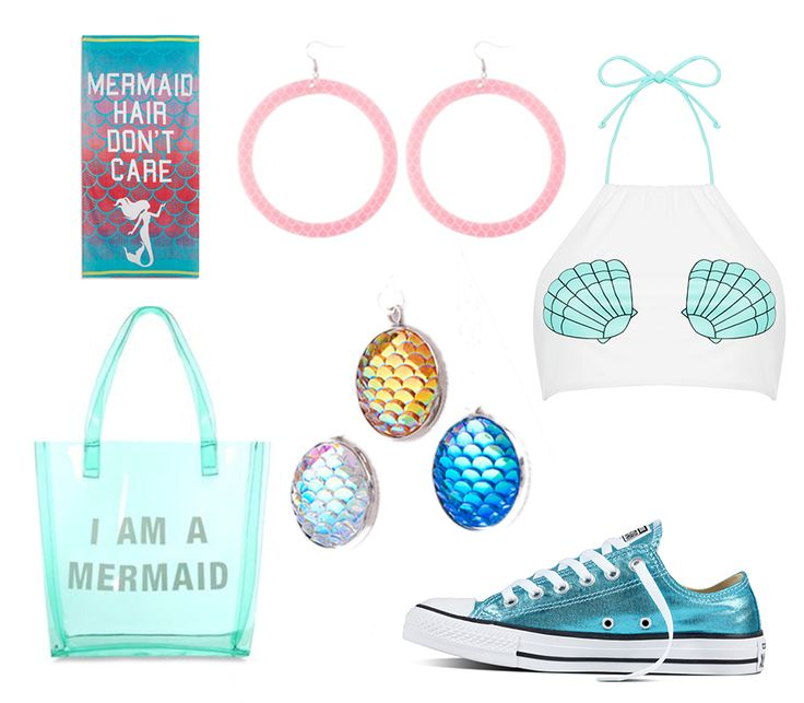 Essential summer products you can match for the perfect mermaid look!! shoes: www.converse.com bag:www.primark.com towel:www.primark,com top:www.primark.com hoop earrings:www.kiradonjewel.com necklace pendants:www.aliexpress.com