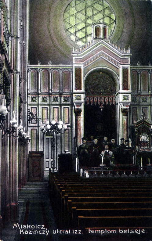 Interior of the Synagogue of Miskolc. Coloured postcard  www.europeana.eu
