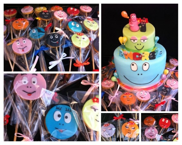Birthday Cake Barbapapà in blue and biscuit barbapapà