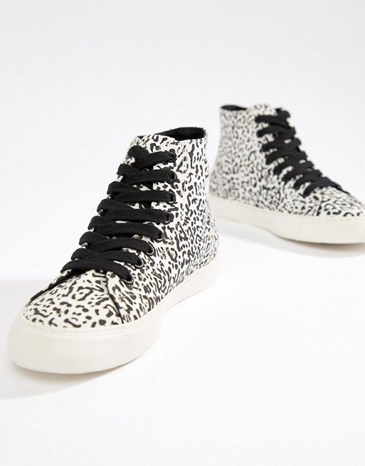 345713396325 DESIGN District high top trainers in leopard print in 2019