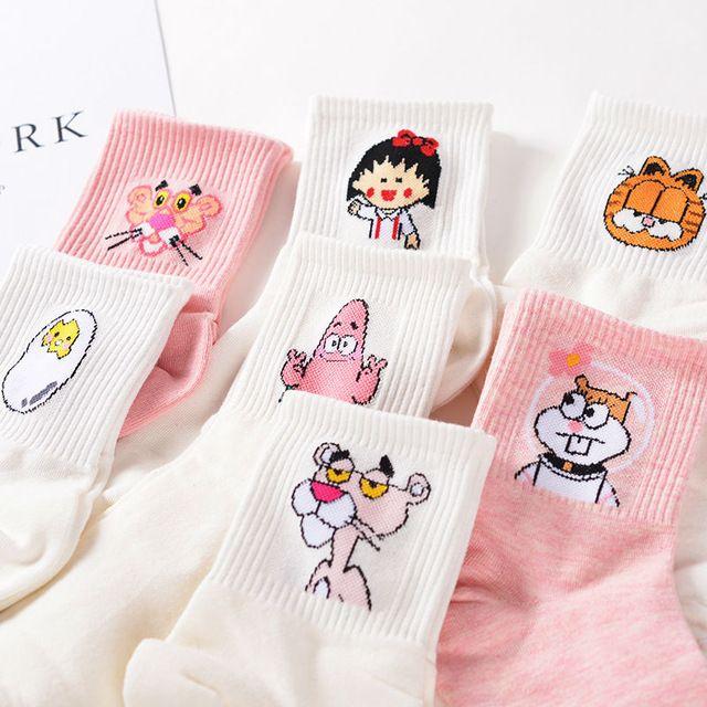 Японский Kawaii Женщин и Мужчин, Носки Трубки Мультфильм Милый Яйцо кролика Пантера Животных Хлопок Длинные Носки Сладкий Цвет Розовый MilkWhite сокс