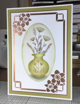Grasses in a Vase Card. Claritystamp stencils and stamps.