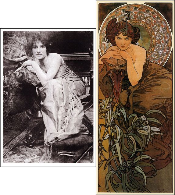 """Alphonse Mucha - """"Emerald"""" c.1909    Pictured alongside Mucha's black & white photograph of his model sitting for the painting.    Part of Mucha's """"Precious Stones"""" series of paintings.    More information on Mucha here: www.muchafoundation.org/MHome.aspx"""