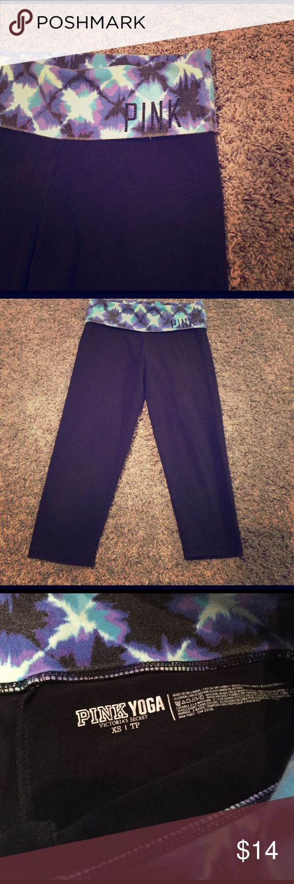 PINK black yoga capris PINK | black yoga capri with tie dye detailing along the waist foldover PINK Victoria's Secret Pants