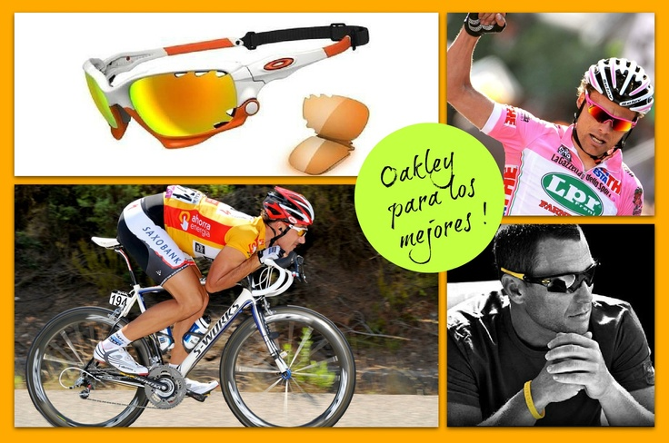 Probablemente una de las mejores firmas de gafas dirigidas a deportistas. Si prácticas algún deporte o buscas unas gafas ligeras, aerodinámicas, con el mejor diseño y materiales, esta es tu marca, la de los mejores:OAKLEY.