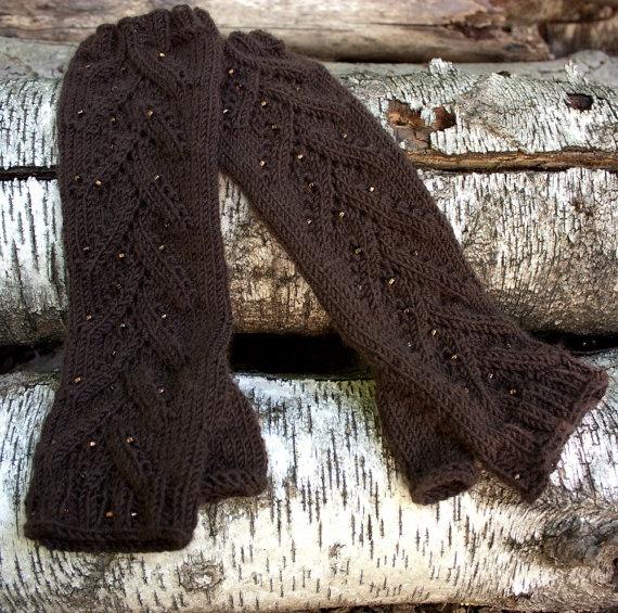 Cashmere Blend Dark Brown Fingerless Gloves by HuzzahHandmade, #hvnyteam