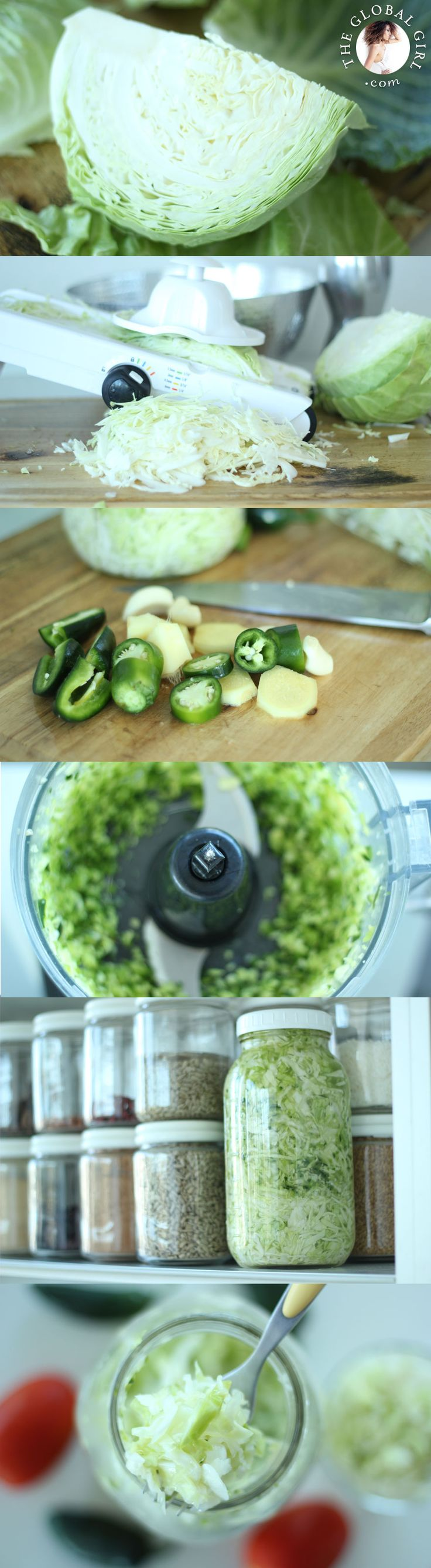 The Global Girl Raw Recipes: Ndoema shares her classic spicy sauerkraut. Combine the powerful detox-friendly properties of cruciferous veggies with the healing properties of probiotics and you've got a health and beauty powerhouse. http://theglobalgirl.com/sauerkraut-lacto-fermented-cabbage-raw-vegan-recipe-probotics-cultured-side-dish-healthy-appetizer/