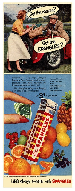 Life's always sweeter with Spangles. #vintage #1950s #candy #food #ads
