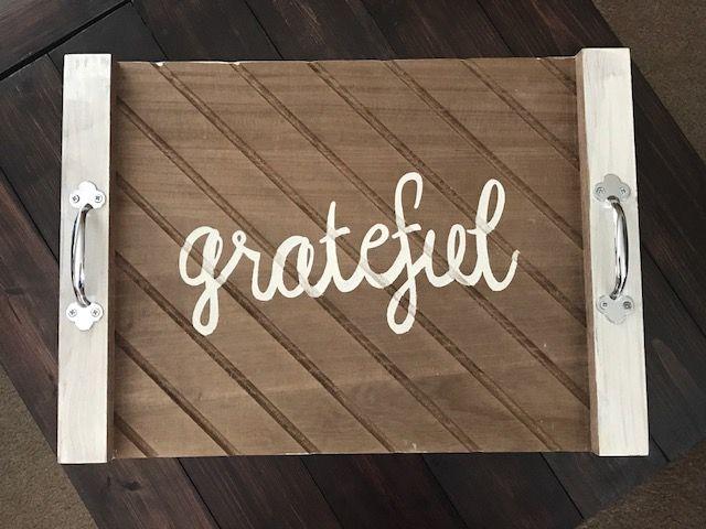 #Grateful #ServingTraySign #ThanksgivingDecor #DIY Home Decor Grateful Serving Tray Sign, Grateful Sign, Serving Tray Sign, Thanksgiving Decor, Fall Decor, Signs for the Home, Farmhouse Sign, Farmhouse Decor, DIY, Thanksgiving, Fall Decor