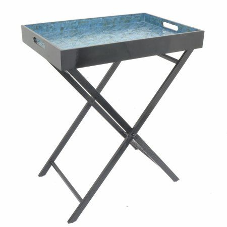 Lovely Wooden Serving Tray Table, Blue Small Benzara