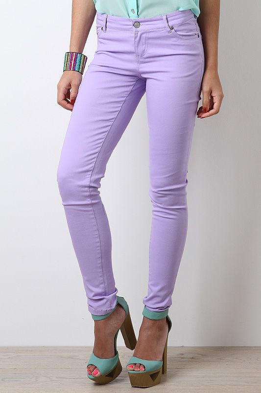Summer Sorbet Jeans-- I'd wear these pastel jeans with the Gwen Multicolor Fabric Military Lace Up Boot. There's just enough purple in to really accentuate both the pants and the jeans without being too much.