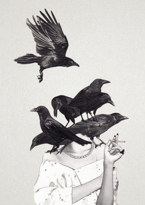 """En mi mente revolotean cuervos gritando """"nunca mas"""" al verte con tu mirar, tu piel, tu ser, aquel que término lastimandome. By: S.M.V."""