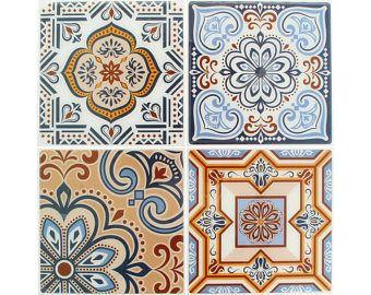 4 Autocollants Carreaux Ciment 12 x 12 cm - Stickers Carreaux Ciment - Carreaux Ciment adhésif - Carreaux Autocollant - 22002025