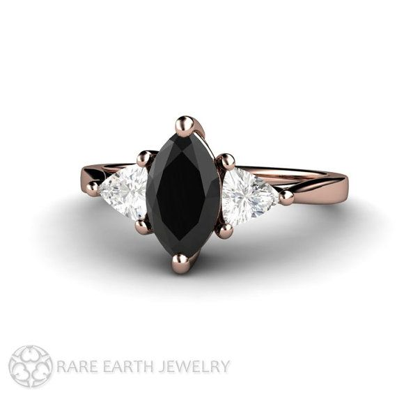 Marquise Black Diamond Engagement Ring 3 Stone by RareEarth