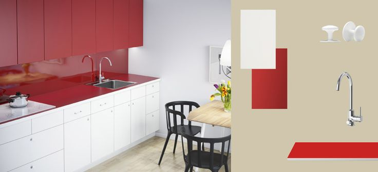 AKURUM kitchen with APPLÅD white doors/drawers, RUBRIK APPLÅD red doors and NUMERÄR double-sided countertop