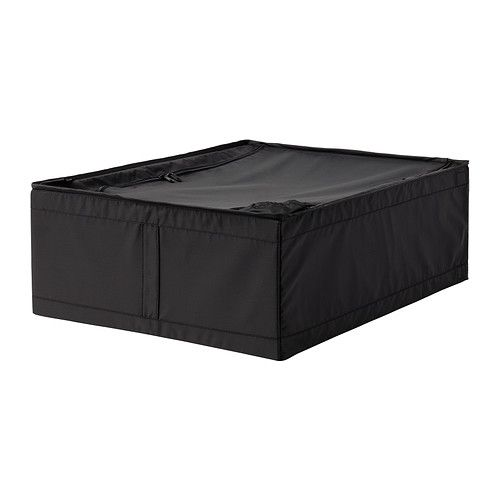 """IKEA - SKUBB, Storage case, 17 ¼x21 ¾x7 ½ """", black, , Easy to pull out as the storage case has a handle on the side.</t><t>Protects your clothes from dust.</t><t>Your stored clothes and textiles stay fresh longer, as ventilation nets in the corners allow air to circulate."""