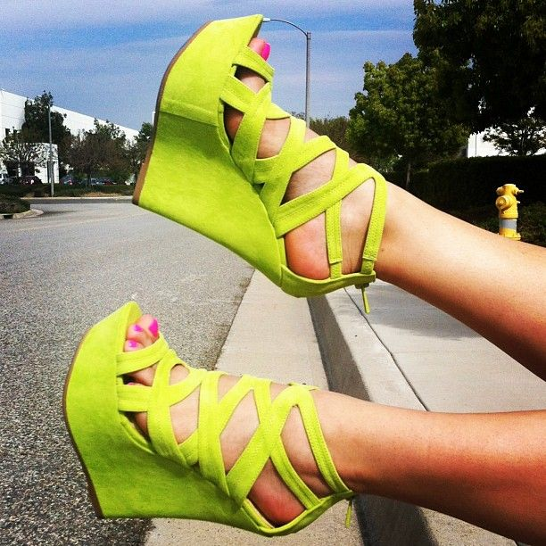 faux suede platform wedges; perfect for Spring & Summer!