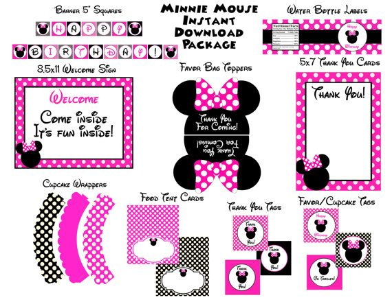 INSTANT DOWNLOAD Minnie Mouse Pink and Black Party Package #Minnie #Birthday