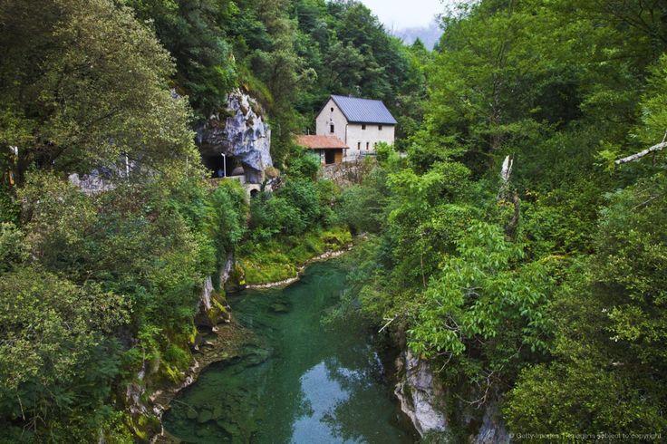 Arenas de Cabrales. Cabrales Cheese Exposition Cave and Cares River. Picos de Europa. Oriente region. Asturias. Spain.