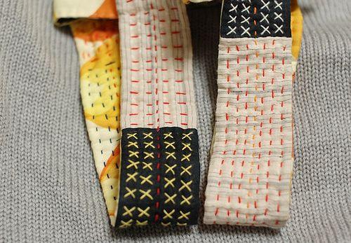 Sashiko stitched handle tote bag
