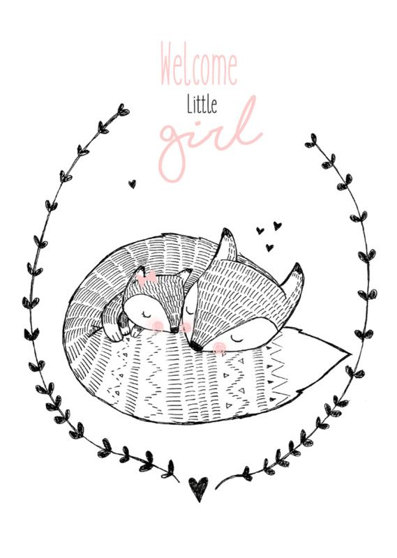 Ansichtkaart Welcome little girl Lieve ansichtkaart met vossen en tekst Welcome little girl. Illustratie Marieke ten Berge