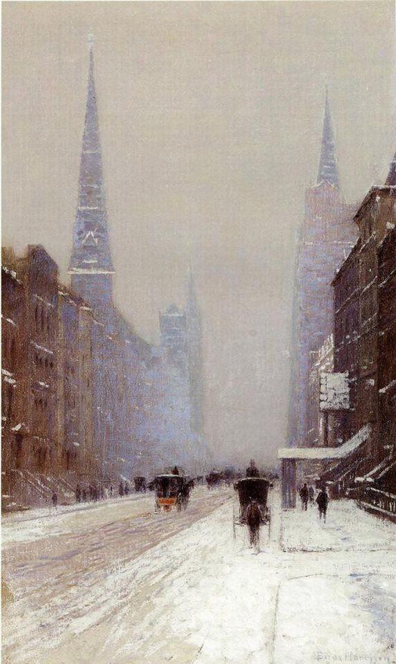 Città e paesi. Lowell Birge Harrison: La 5° Strada in inverno. Olio su tela, del 1910 circa. Cm 76,3 X 45,7. Collezione privata. Poca gente in giro: il freddo dev'essere intenso.