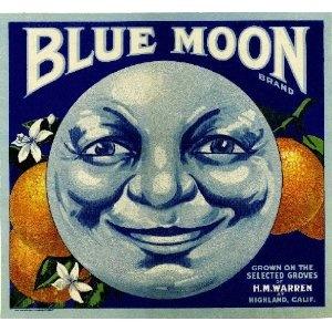 Highland, San Bernardino County Blue Moon Orange Citrus Fruit Crate Box Label Art Print