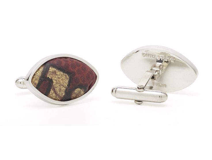 Ohio State Game Used Football Cuff Links Back and Front