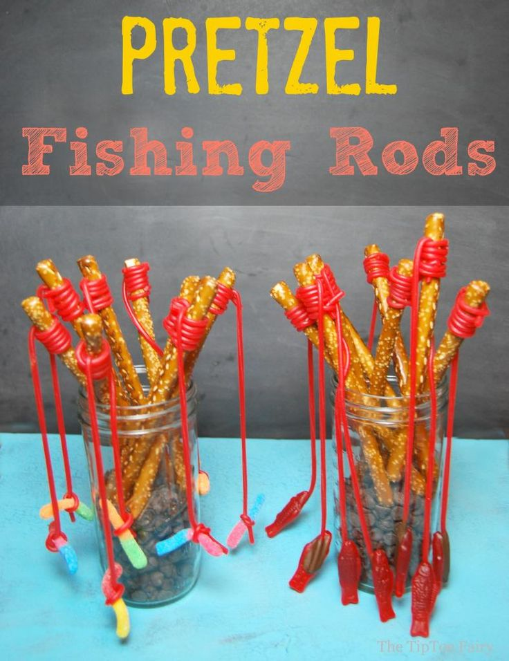 Pretzel Fishing Rods | She keeps talking about going fishing. I will make these and she can fish with someone else :)