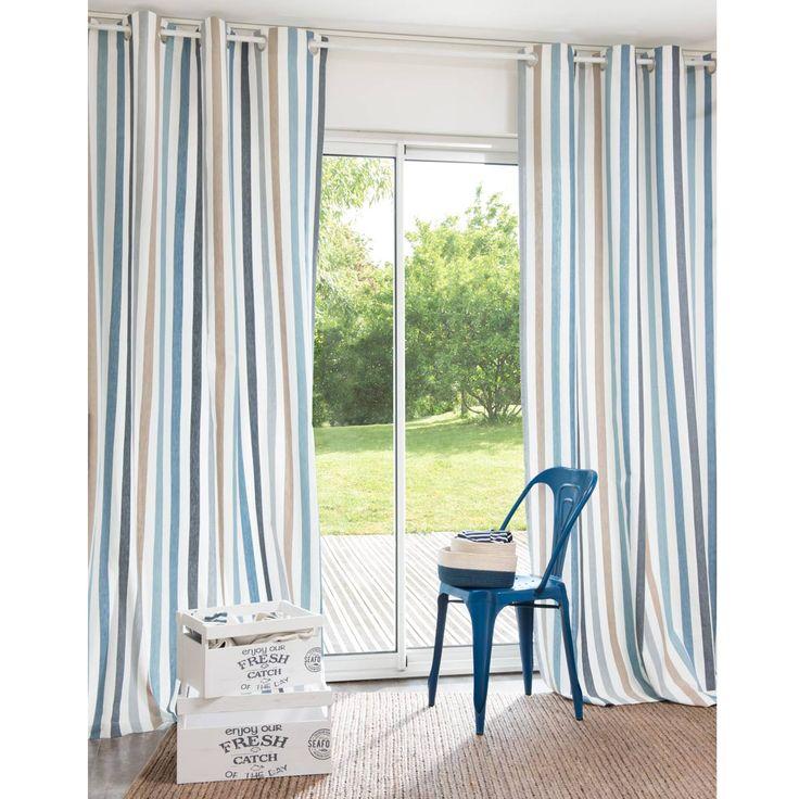 rideau ray rivet en coton 140 x 250 cm maisons du monde plus - Rideaux De Salon Moderne