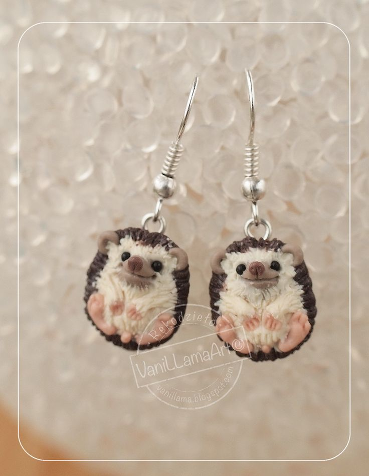 "VaniLlamaArt - handmade: Jasnooki wilczek, jeże i nowe ""zabawki"" ;) / Wolf pendant and hedgehogs earrings of polymer clay"