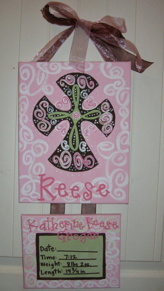 etsy baby hospital door hangers | Birth Announcement Canvas Hospital Door Hanger