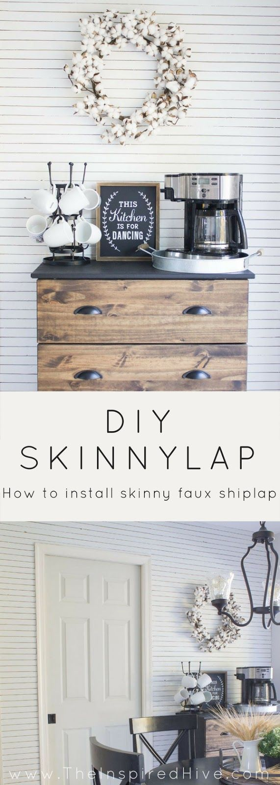 DIY Skinnylap- How to install thin faux shiplap. Get the Fixer Upper modern farmhouse look with a wood lath feature wall.