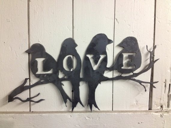 Love Birds Wall Art by BuckandFawnMetal on Etsy