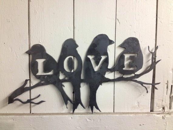Amor aves 20 X 10 metal corte Ideal para decoraciones de mesa o estante Los…