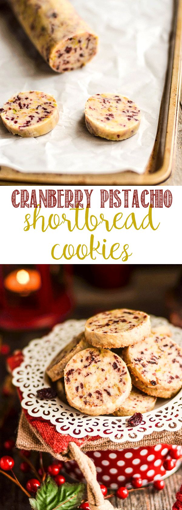 Cranberry Pistachio Shortbread Cookies via @domesticallyspeaking