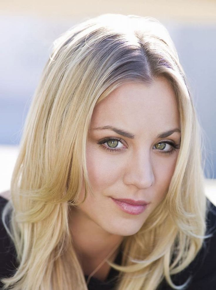 Kaley Cuoco Coy Half Smile Portrait With Long Layered Hairstyle
