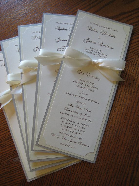 Wedding Program In Custom Colors Including Faux Gold Ink Fonts Double Sided With Ribbon Bow Bistro Collection Sample