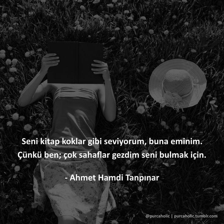 Seni kitap koklar gibi seviyorum, buna eminim. Çünkü ben; çok sahaflar gezdim seni bulmak için. - Ahmet Hamdi Tanpınar #ahmethamditanpınar #romancı #öykücü #şair #kitap #kitapsever #kitapsözleri #kitapalıntıları #sözler #anlamlısözler #güzelsözler #manalısözler #özlüsözler #alıntı #alıntılar #alıntıdır #alıntısözler #şiir #siir #edebiyat #augsburg #münchen #ulm #stuttgart #frankfurt #istanbul #ankara #izmir