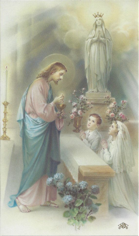 FIRST HOLY COMMUNION Keepsake    **These are beautiful Cromo N.B. prayer cards personalized with information you provide.    **Contact me with