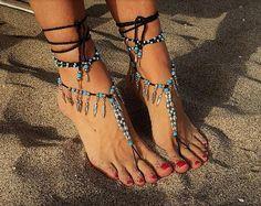 Sandalias descalzos pie joyería, sandalias hippie, pulseras para el tobillo, sandalias boho, sandalias de playa