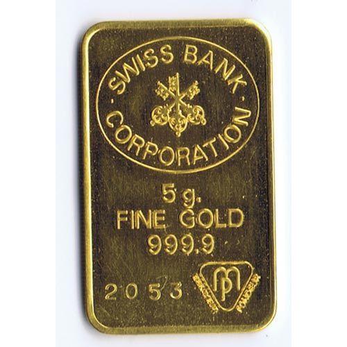 Lingote de oro 5 gramos Suiza.