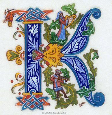 Celtic Pattern fantasy fonts K calligraphy leaves calligraphy Illuminated K  ©Jane SullivanIlluminated K©