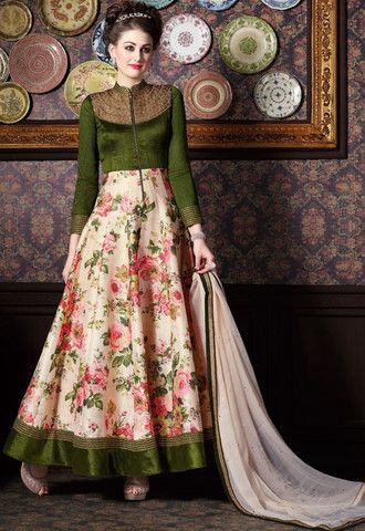 Green & Off White Banarasi Silk Salwar Kameez ,Indian Dresses - 1