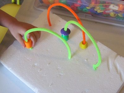 Colorful pipe cleaner bead mazes...