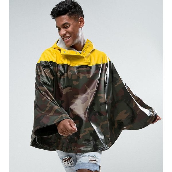 Herschel Forecast Waterproof Poncho in Camo/Yellow UK EXCLUSIVE ($62) ❤ liked on Polyvore featuring men's fashion, men's clothing, men's outerwear and green